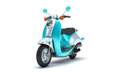3D Rendering of shine turquoise colorful retro motor scooter isolated on white background. Perspective View of Vintage Motorcycle