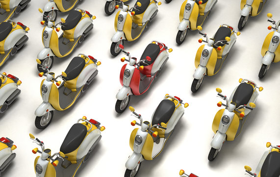 Unique concept. High traffic. Red scooter among the numerous yellow scooters moving rows from right to left. Top isometric view. 3D illustration