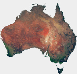Large (143 MP) satellite image of Australia. Country photo from space. Isolated imagery of Australia. Elements of this image furnished by NASA.