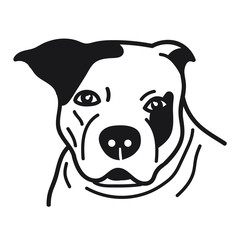 portrait of pitbull doodle on White Background,Vector illustration