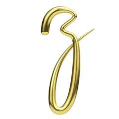 Letter Z gold handwritten script font. 3D Rendering