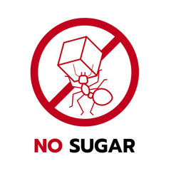 no sugar sign with Red Ant Carrying Sugar in stop circle vector design