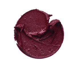 Dark red makeup smear of matte lip gloss