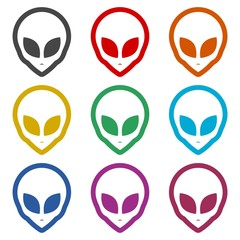 Alien head icon, Extraterrestrial alien face, color icons set