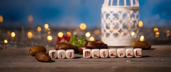 Congratulation EID MUBARAK composed of wooden dices