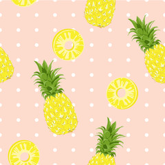 Seamless pattern Pineapple Exotic tropical fruit on polka dot background.printing wallpaper.vector illustration