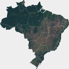 Large (142 MP) satellite image of Brazil with inner (states) borders. Country photo from space. Isolated imagery of Brazil. Elements of this image furnished by NASA.
