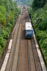 View on two railway track lines and train