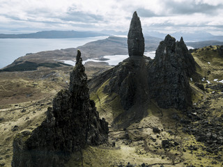 Aerial View of Old man of Storr on the Isle of Skye, Scotland during a cloudy day