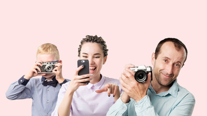 Group of people kid woman and man holding photocamera. Concept of hobby and study in photo school
