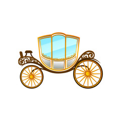 Royal horse-drawn carriage with big cab and wheels. Vintage passengers transport. Flat vector element for wedding invitation