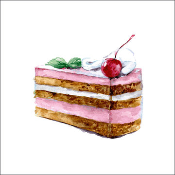 Piece of cake with cream and cherry. Watercolor illustration. Vector