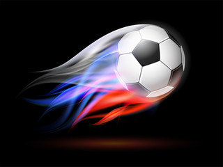 Soccer ball with flame trail of Russian Flag