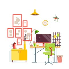 Workplace in room. Stylish and modern interior with flower, table lamp, clipboard, pictures and computer. Illustration in cartoon style.