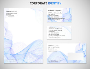 Business style template with Blue Guilloche pattern white abstract background, useful for presentation, business card, envelope or  documents. Vector design layout with fine lines