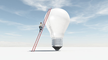The man climbs on a ladder supported by a big bulb.