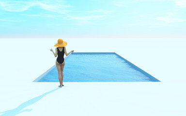 Woman in swimsuit and hat near pool.