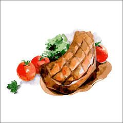 Grilled chop with tomatoes. Watercolor food illustration. Vector