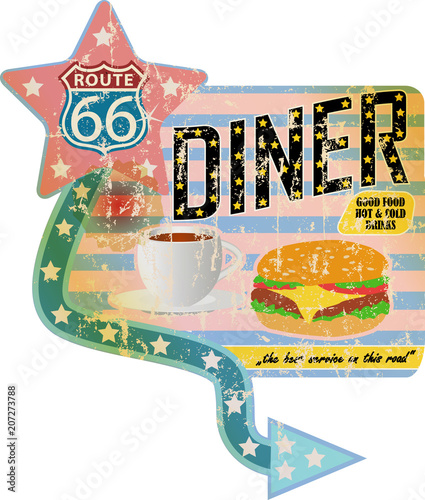 Grungy Retro Route 66 Diner Sign Vintage Advertising Signage Vector