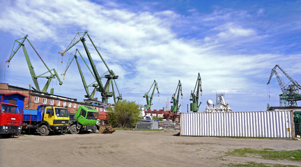Crane gdansk stock images. Shipping cranes in Gdansk. Industrial site in Poland. Cargo cranes during the day