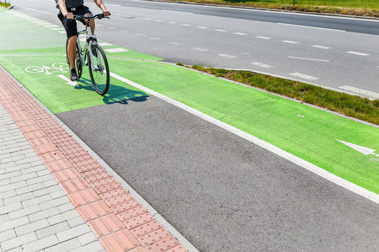 Bike green lane in europe, concept of bicycle way