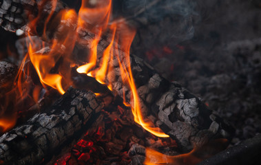 Fireplace with burning firewood and colorful flames on black background. Close up with details, space.