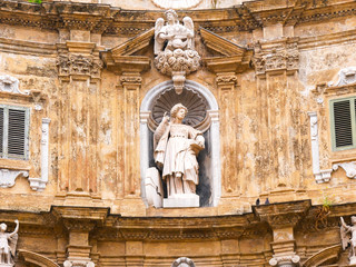 Statue of Santa Cristina in The Four Canti, or piazza Villena, is the name of an octagonal square in the historic center of Palermo with the beautiful decorations of the buildings of 1606