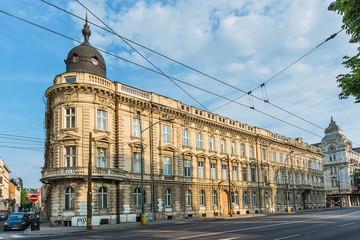 "Bratislava, Slovakia - May 24, 2018: ""Štefánikova"" street in Bratislava, Slovakia. Nice building in the photo."