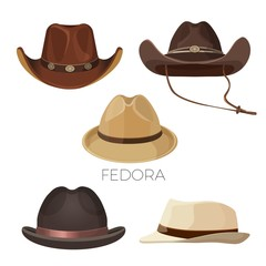Fedora and cowboy hats of brown and beige colors set