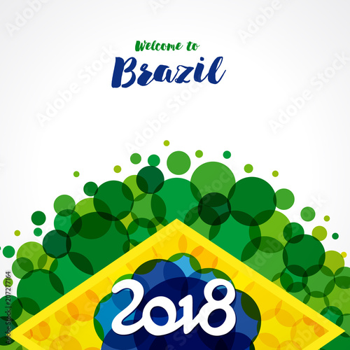 2018 Welcome To Brazil Banner Inscription 2018 On A Background