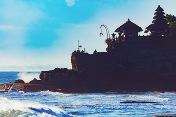 Silhouette of Tanah Lot temple in Bali, Indonesia