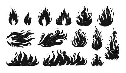 Set of hand drawn flames