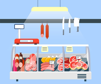 Meat Stand in Supermarket, Meat Display Refrigerator Showcase vector illustration