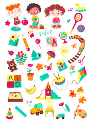 Cartoon kindergarten elements vector illustration