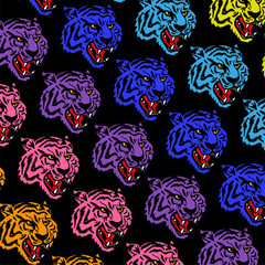 Colorful tigers pattern
