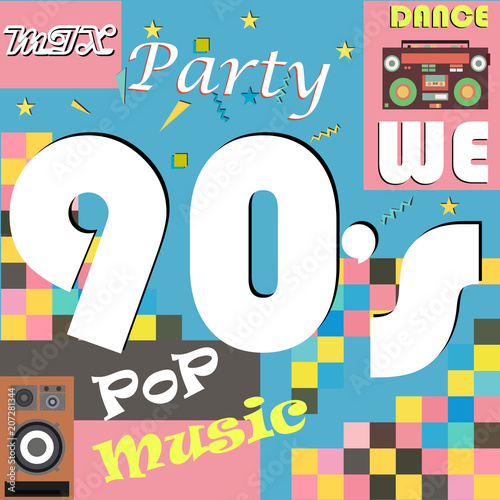 Retro-style club, background, fashion, pop music of the 90's