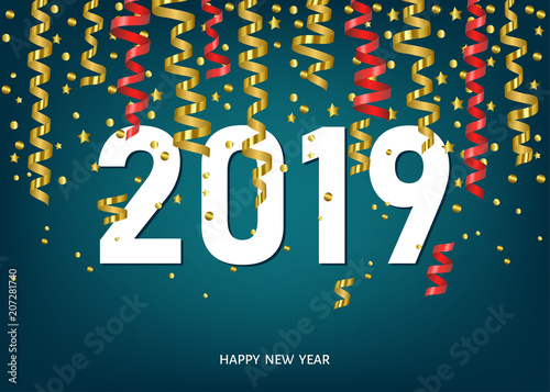 2019 happy new year card with golden and red confetti