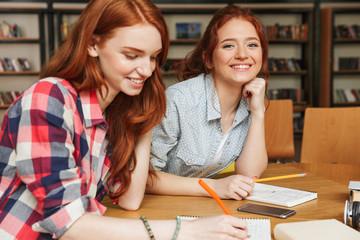 Portrait of a two happy teenage girls doing homework