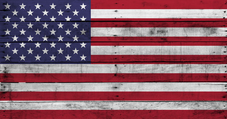 Vintage background of USA flag on old wooden