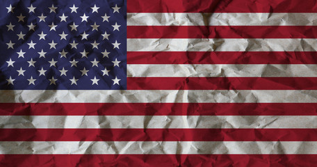 USA flag on crumpled recycle paper background