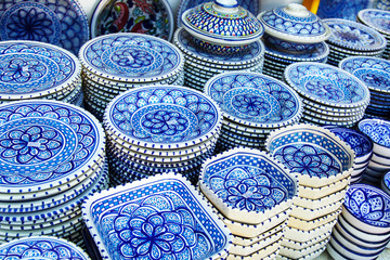 Souvenir earthenware in tunisian market.