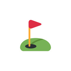 Golf green grass, red flag, circle hole ball, golf club, hobby, game, recreation, activity vector illustration flat style symbol icon