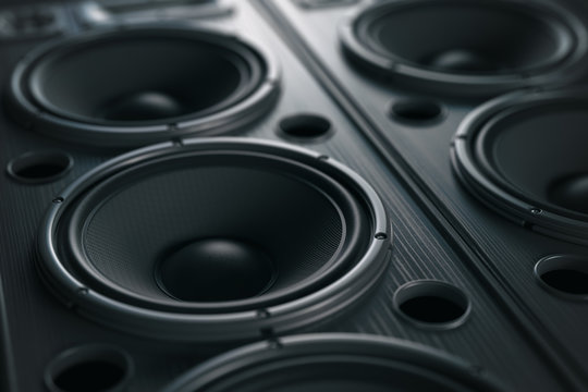 Multimedia  acoustic sound speaker system. Music close up black background.