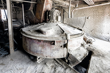 Concrete mixer in the old Soviet concrete plant.