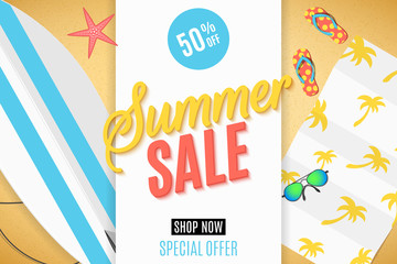 Cover for the Summer Sale. Surfboard on the beach, sunglasses, towel and flip flops. Set of summer things and accessories for outdoor recreation. Big discounts. Vector illustration