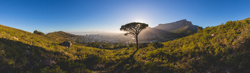 Panorama of Table Mountain in Cape Town at sunrise