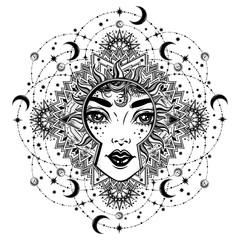 Beautiful divine night goddess girl with ornate halo