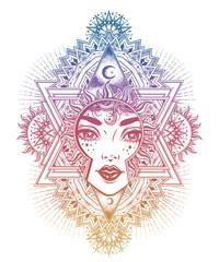 Beautiful divine sun goddess girl with ornate halo