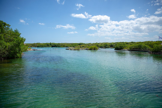 Xel-Ha lagoon reserve in Mexico Yucatan, tourists park