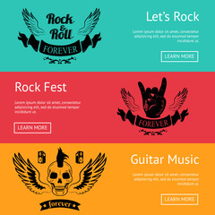 Rock-Themed Set of Posters with Colorful Backdrops